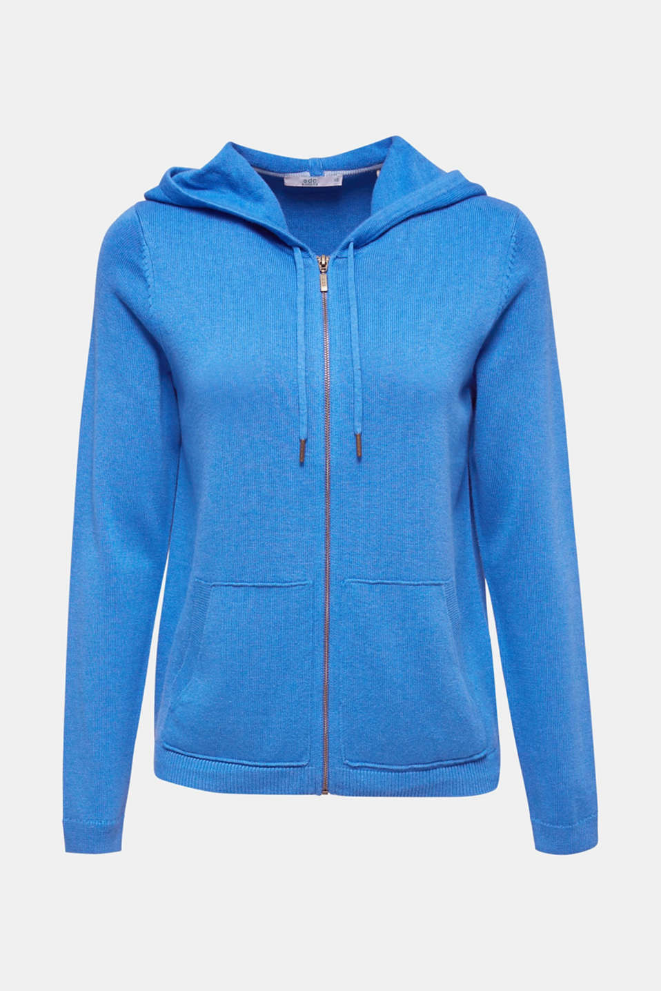 Knitted cardigan with organic cotton, BRIGHT BLUE, detail image number 7