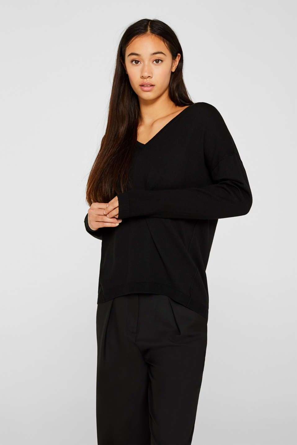 Jumper with inside-out seams, BLACK, detail image number 0