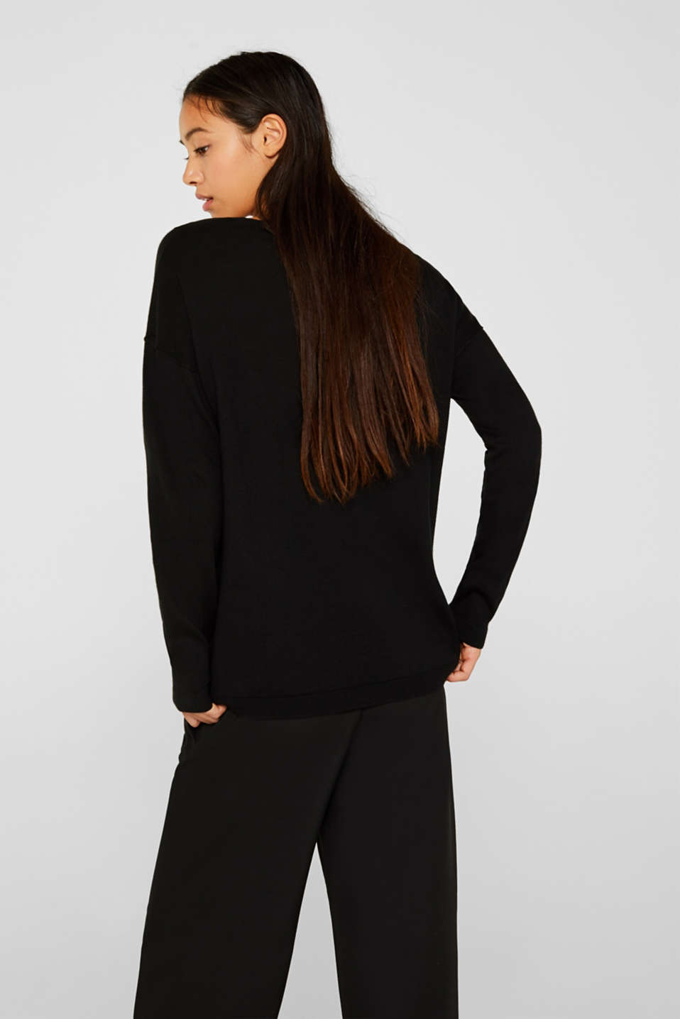 Jumper with inside-out seams, BLACK, detail image number 3