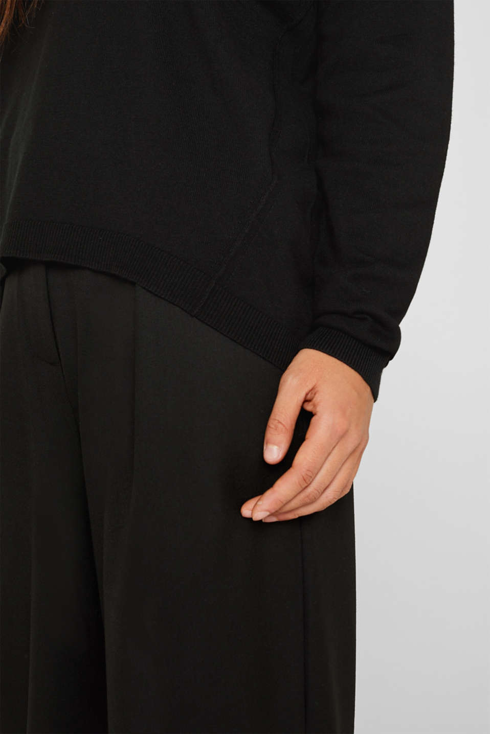 Jumper with inside-out seams, BLACK, detail image number 2