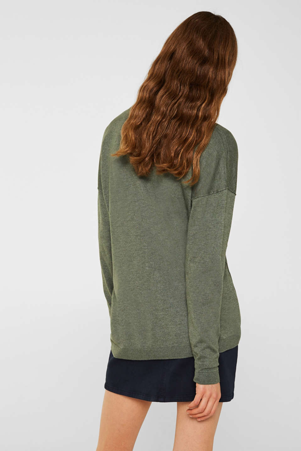 Jumper with inside-out seams, KHAKI GREEN 5, detail image number 3
