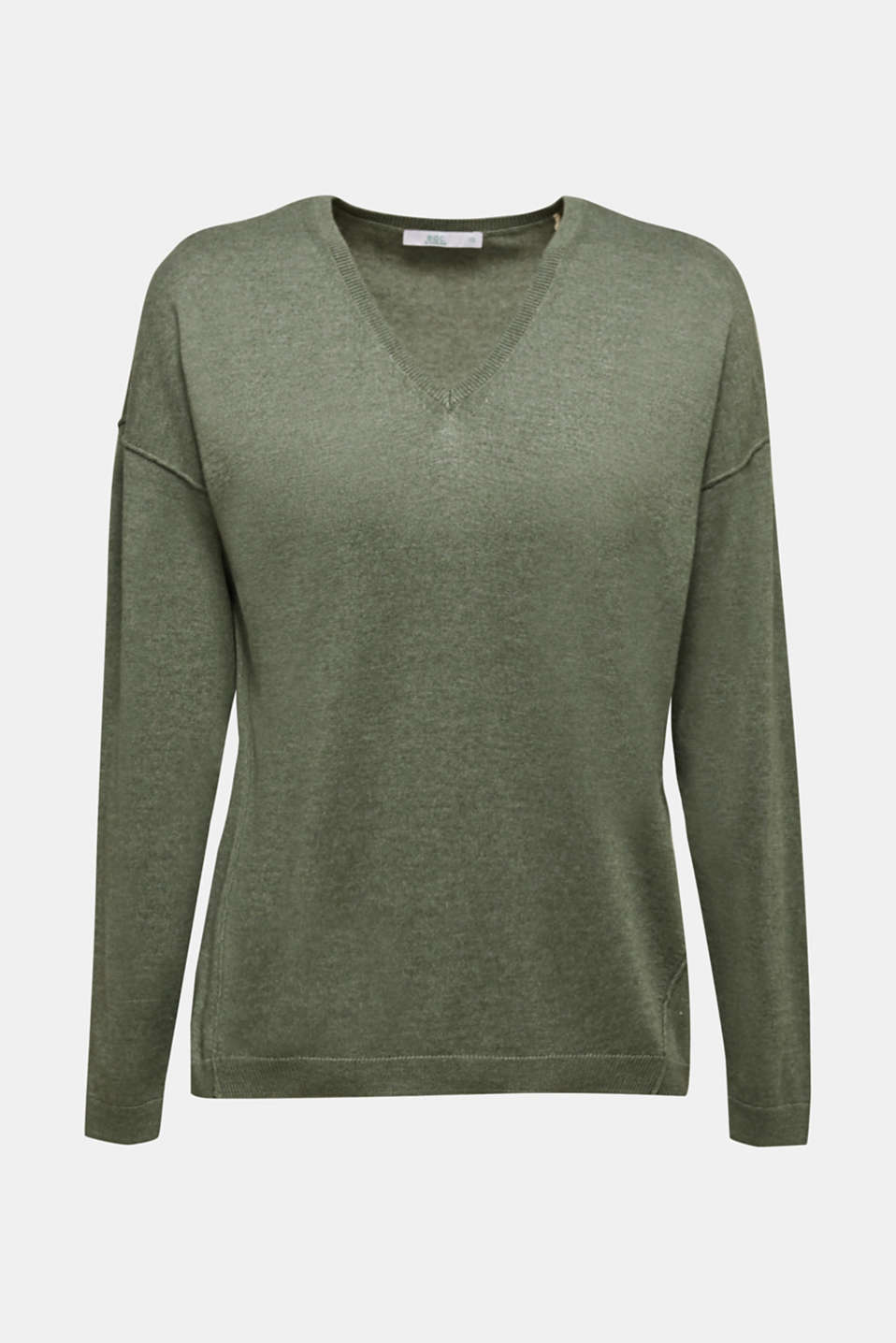 Jumper with inside-out seams, KHAKI GREEN 5, detail image number 5