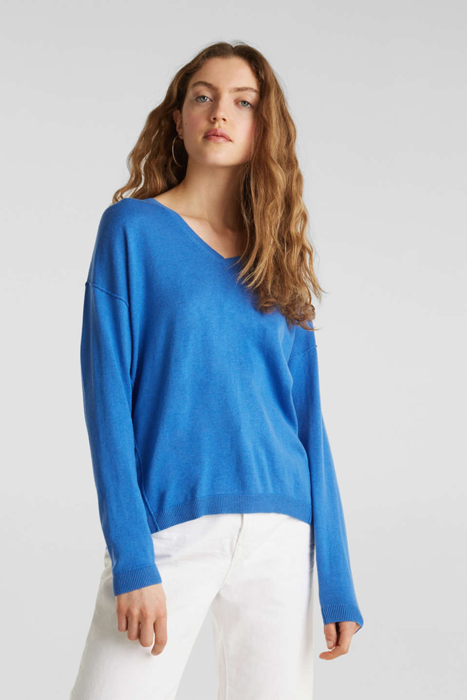 Jumper with inside-out seams, BRIGHT BLUE, detail image number 0
