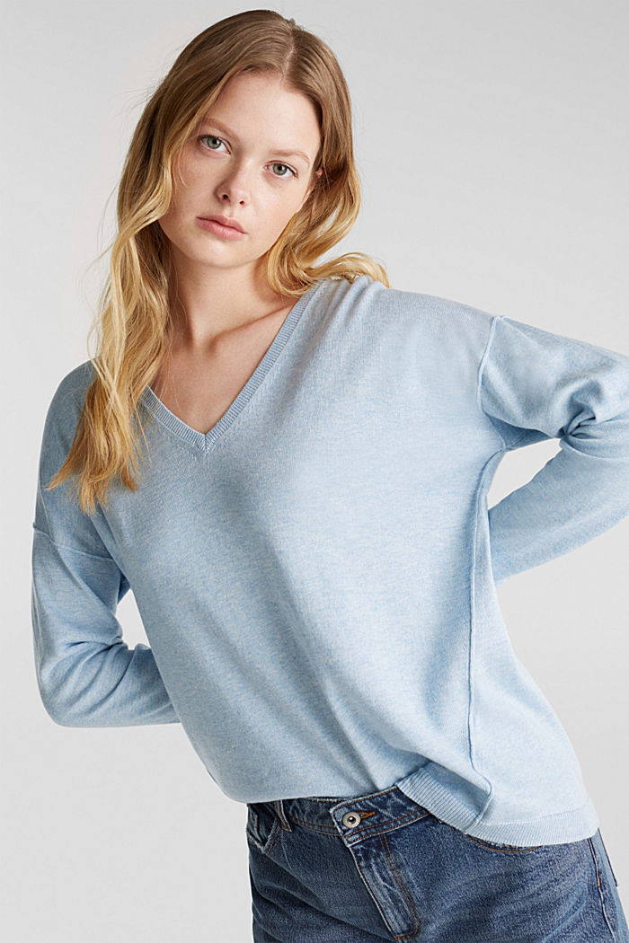 Jumper with inside-out seams, LIGHT BLUE 5, detail image number 0