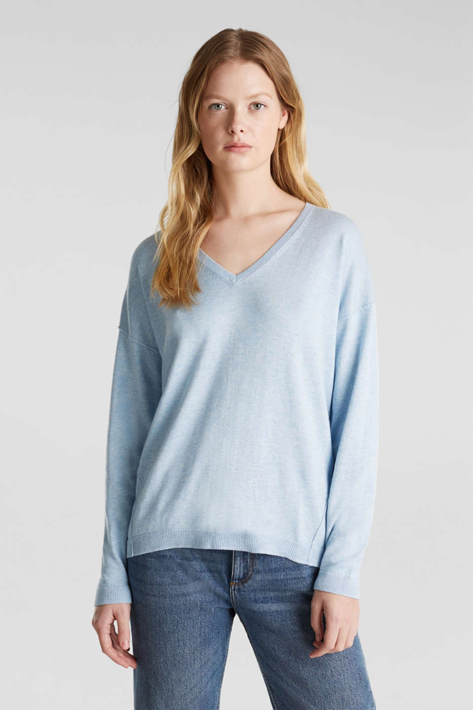 Jumper with inside-out seams, LIGHT BLUE 5, detail image number 5