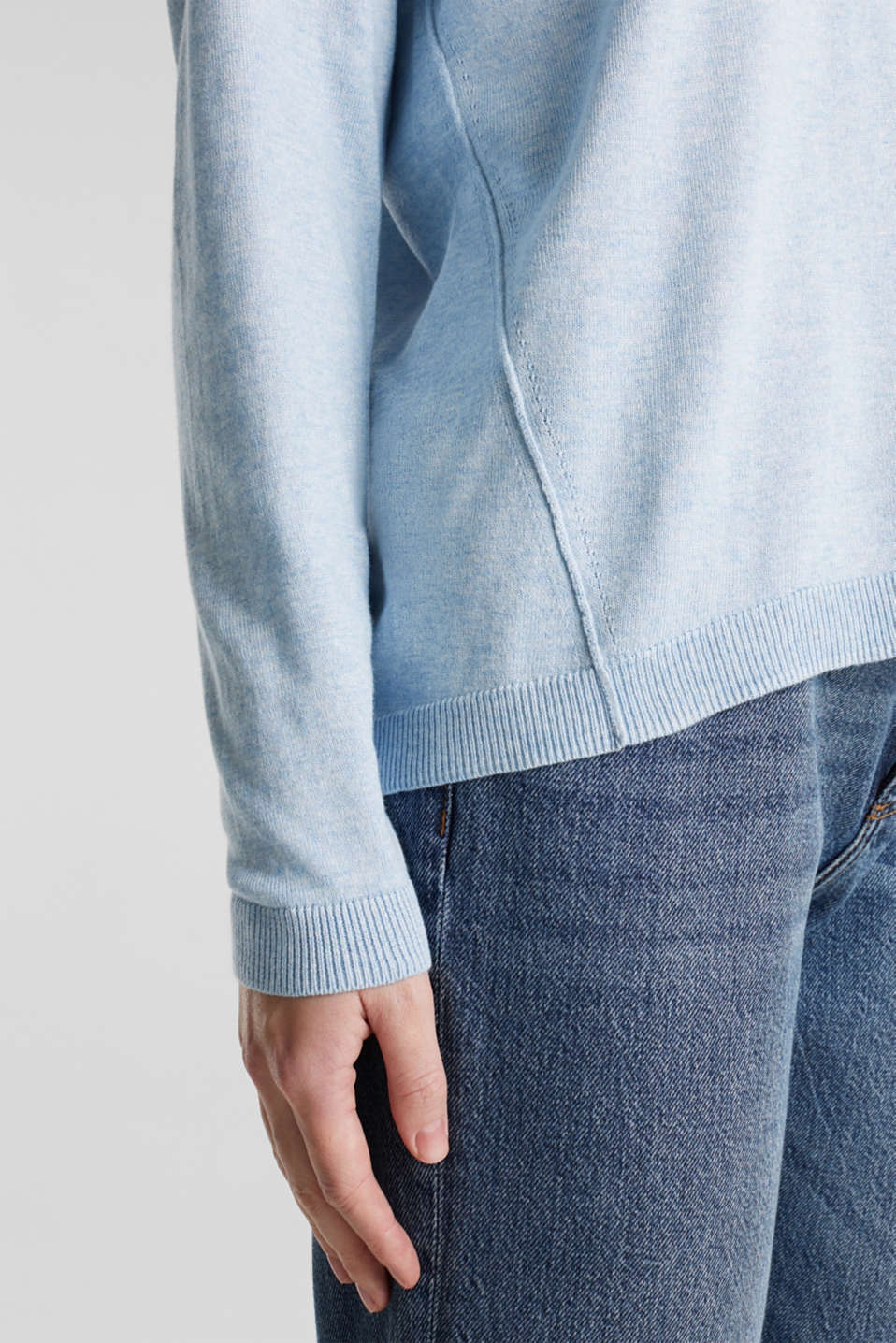 Jumper with inside-out seams, LIGHT BLUE 5, detail image number 4