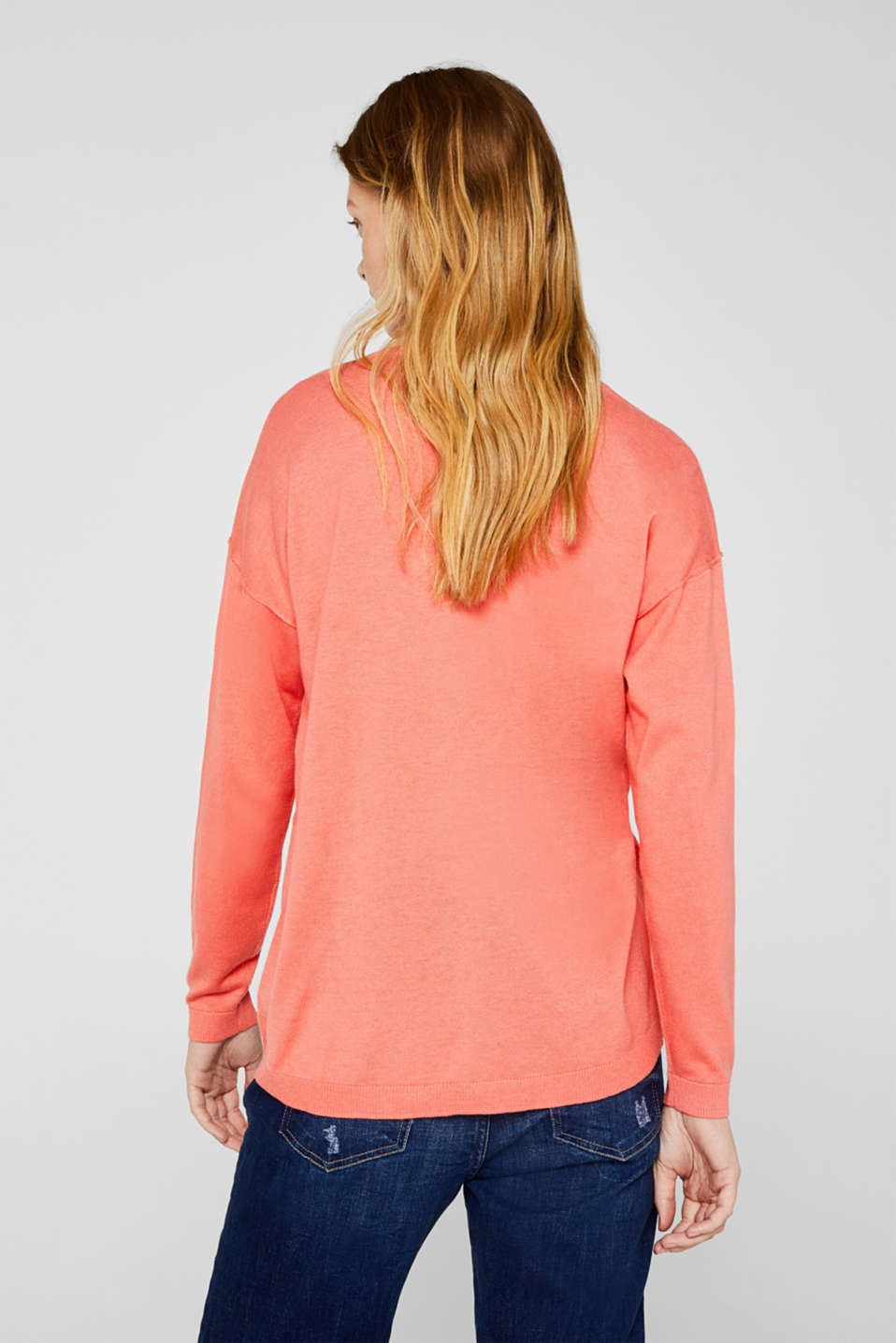 Jumper with inside-out seams, CORAL, detail image number 3