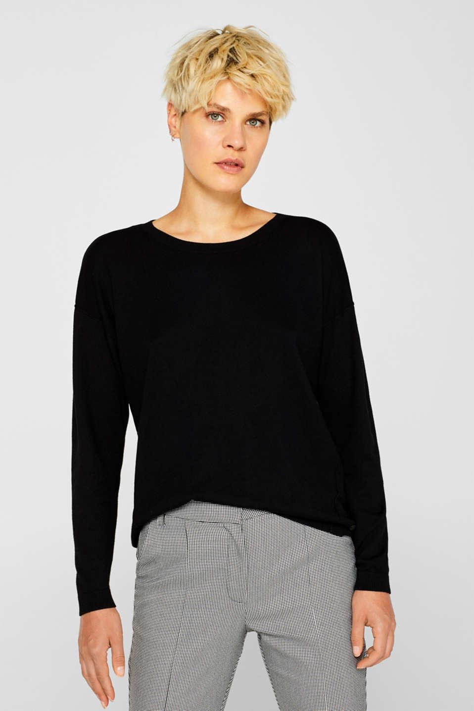 Fine knit jumper with on-trend details, BLACK, detail image number 0