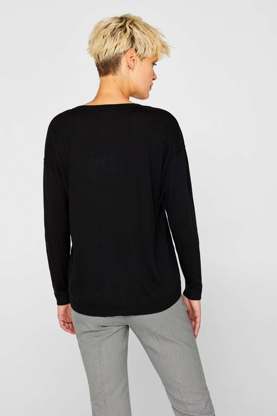 Fine knit jumper with on-trend details, BLACK, detail image number 3