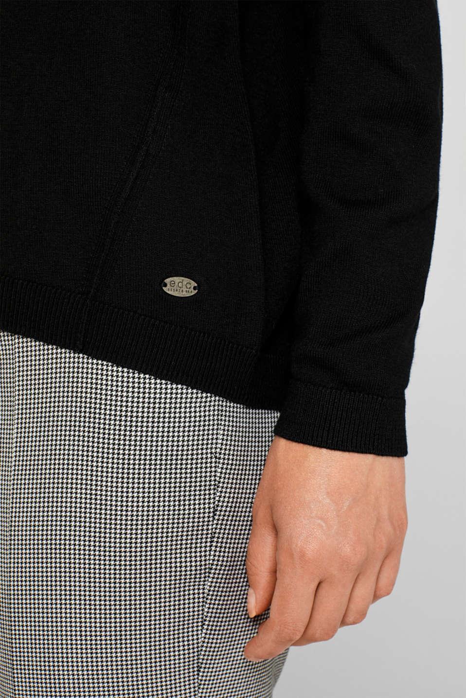 Fine knit jumper with on-trend details, BLACK, detail image number 2