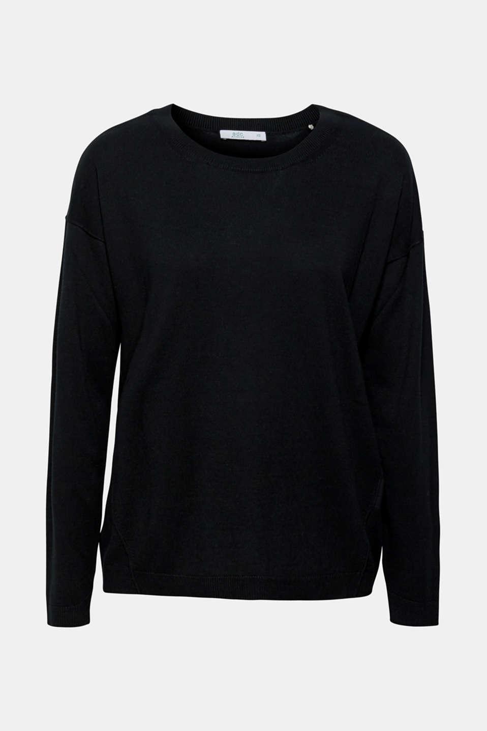 Fine knit jumper with on-trend details, BLACK, detail image number 5