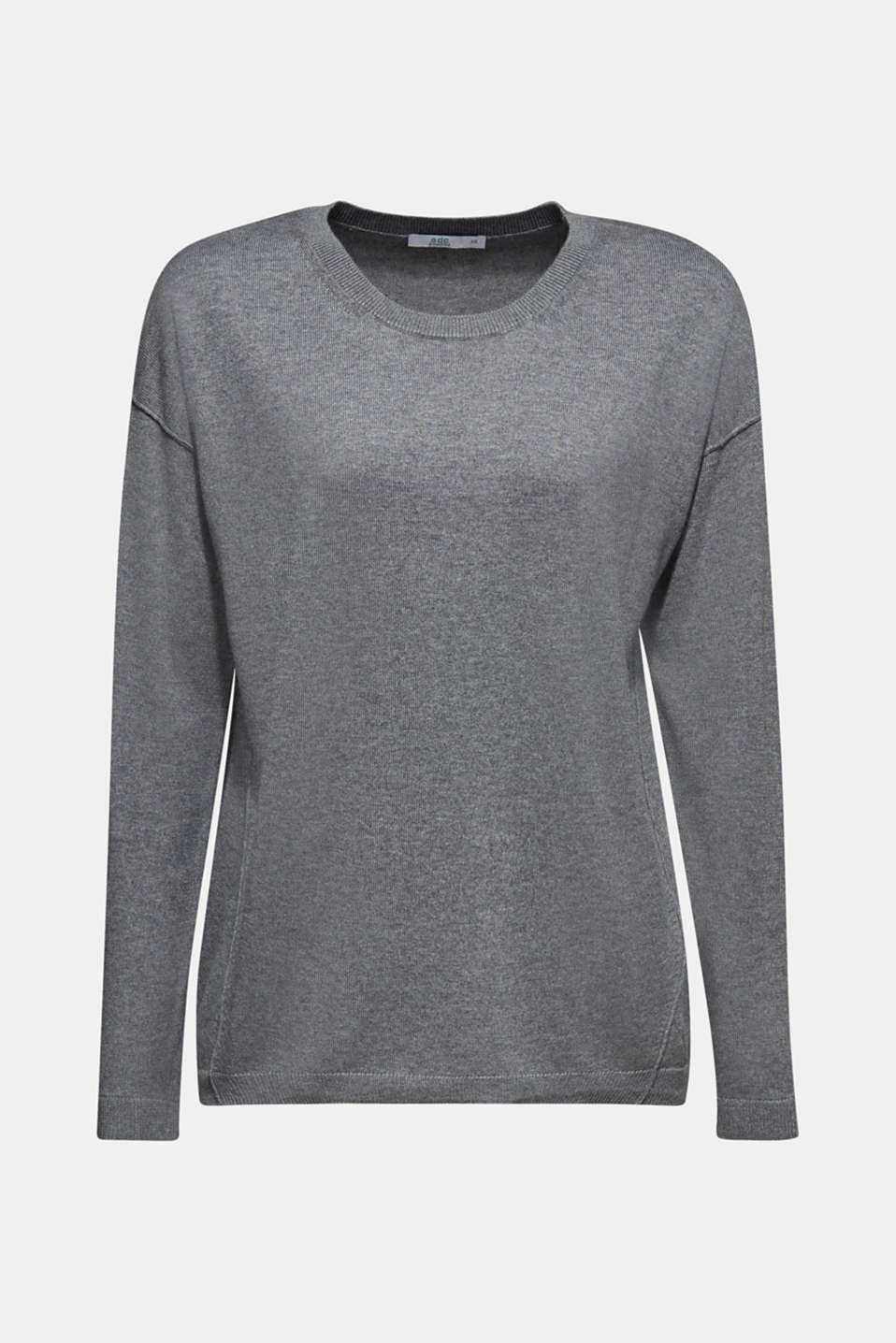 Fine knit jumper with on-trend details, GUNMETAL 5, detail image number 7
