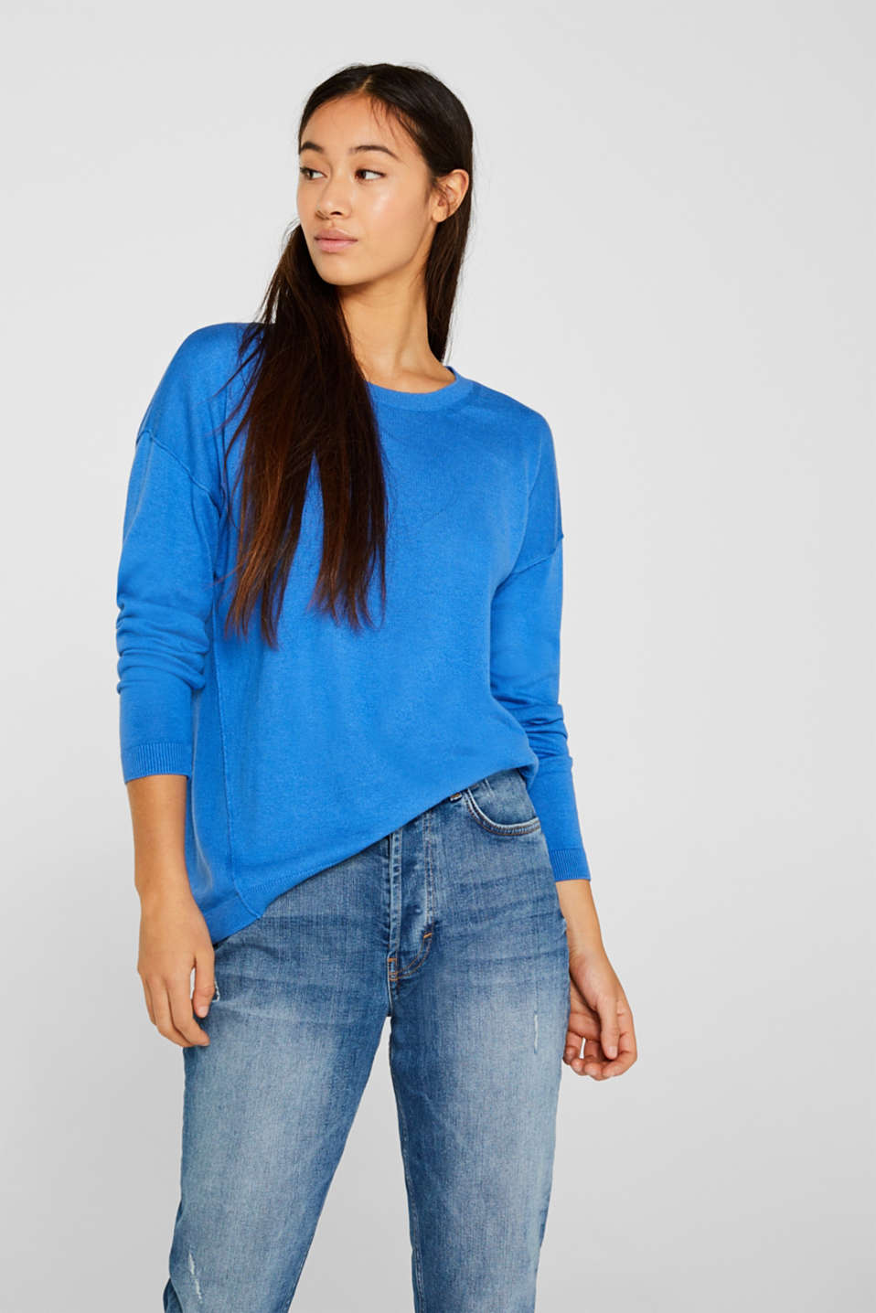 Fine knit jumper with on-trend details, BRIGHT BLUE, detail image number 5