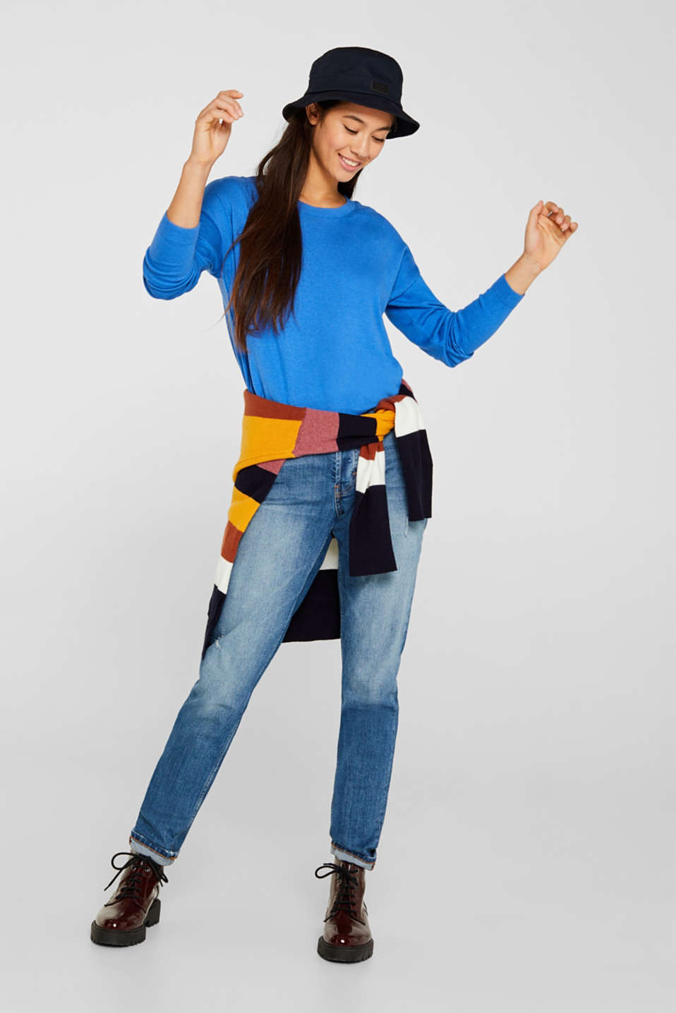 Fine knit jumper with on-trend details, BRIGHT BLUE, detail image number 1
