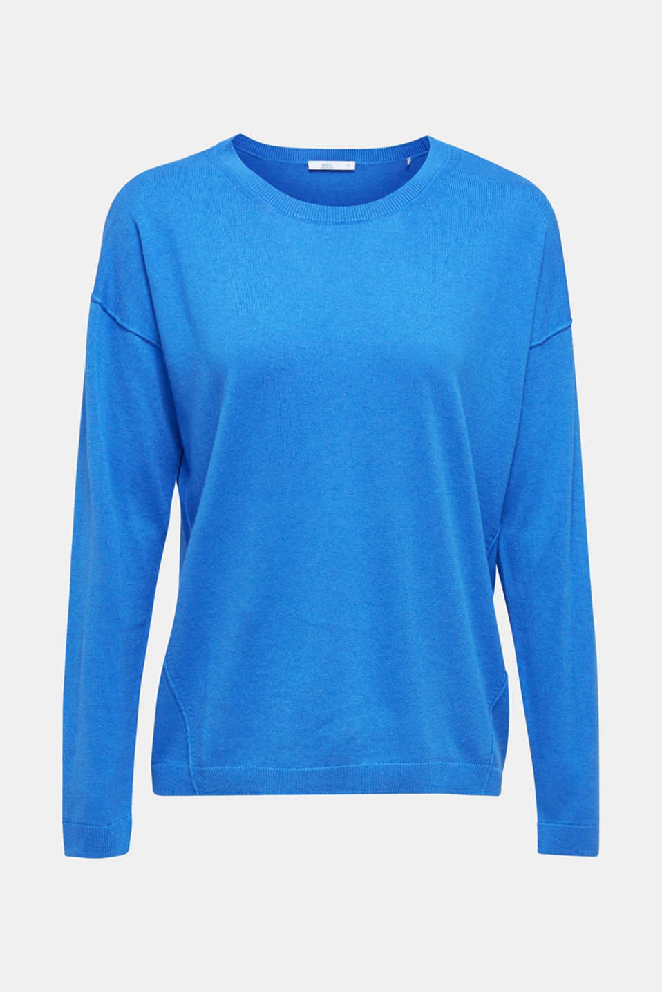 Fine knit jumper with on-trend details, BRIGHT BLUE, detail image number 6