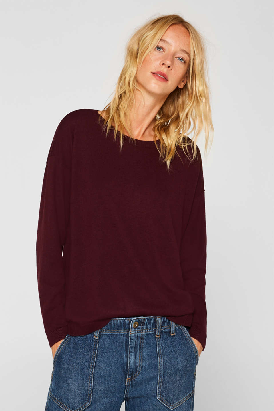 Fine knit jumper with on-trend details, BORDEAUX RED, detail image number 0