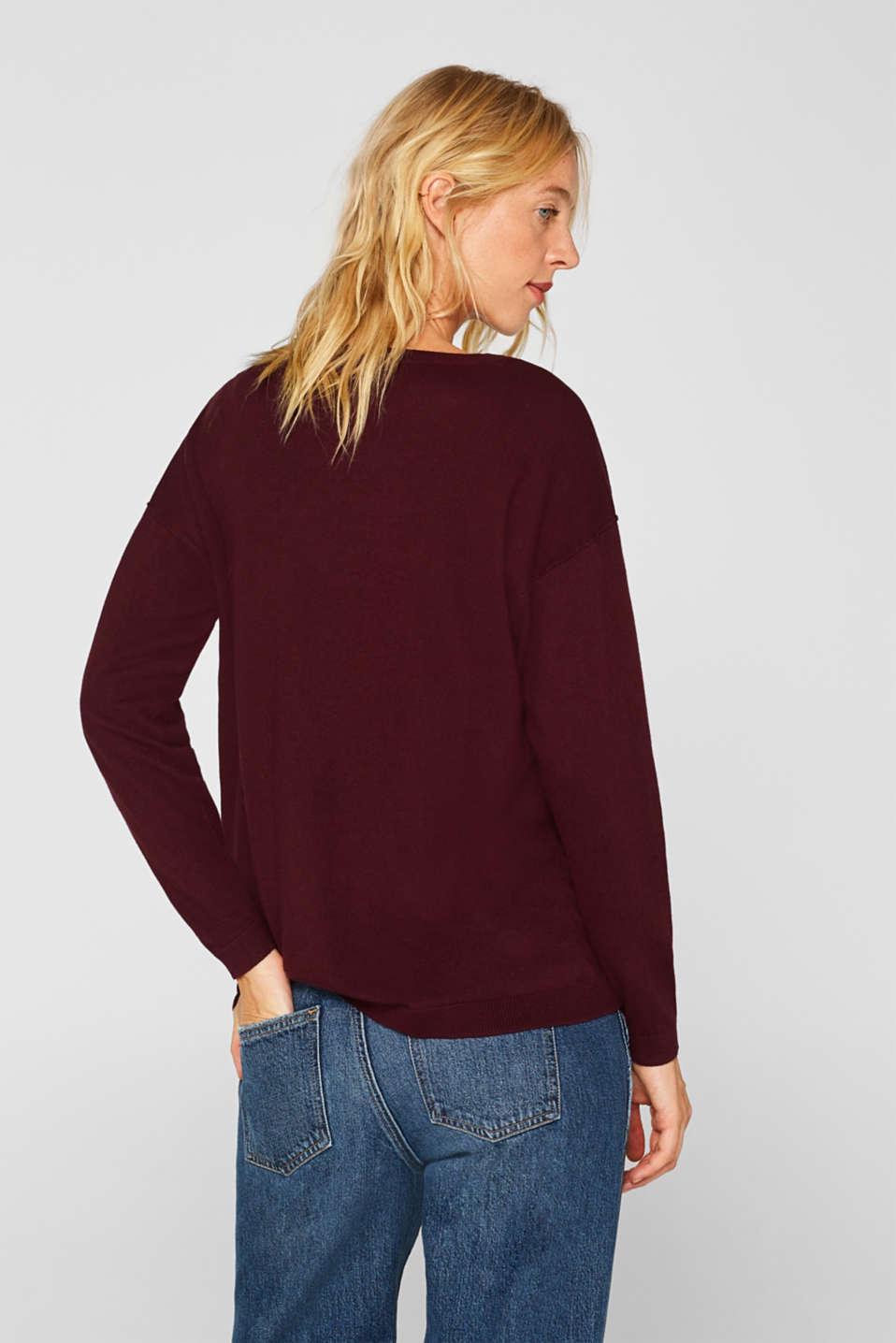 Fine knit jumper with on-trend details, BORDEAUX RED, detail image number 3