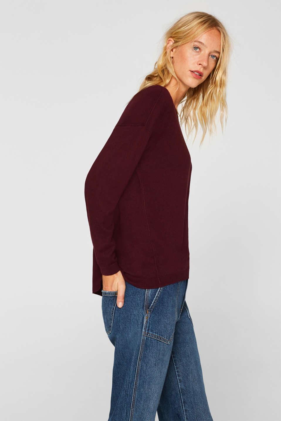 Fine knit jumper with on-trend details, BORDEAUX RED, detail image number 5