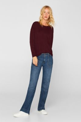 Fine knit jumper with on-trend details, BORDEAUX RED, detail