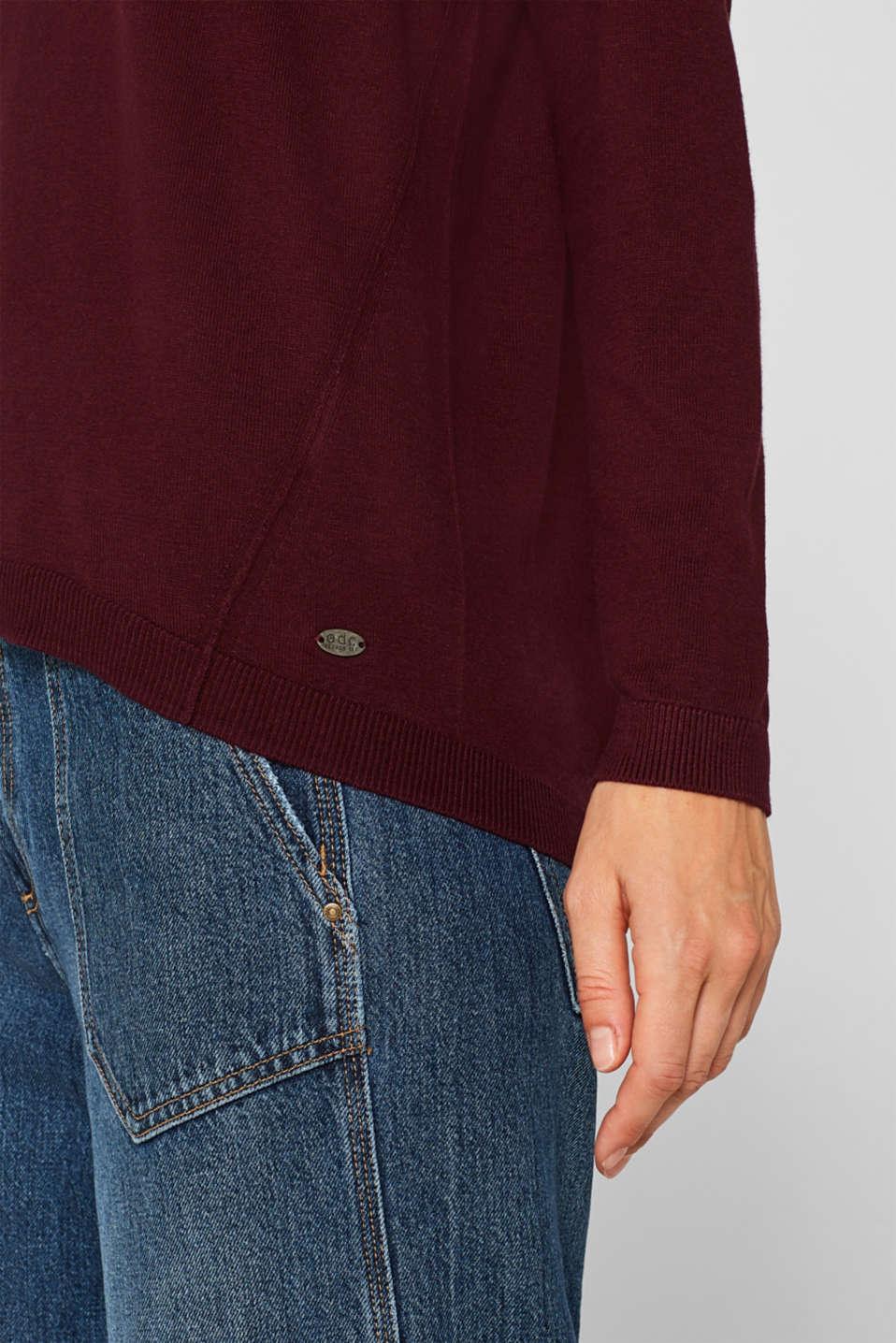 Fine knit jumper with on-trend details, BORDEAUX RED, detail image number 2