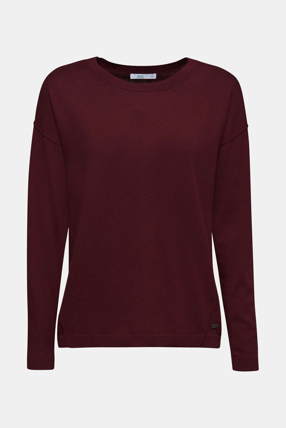 Fine knit jumper with on-trend details, BORDEAUX RED, detail image number 6