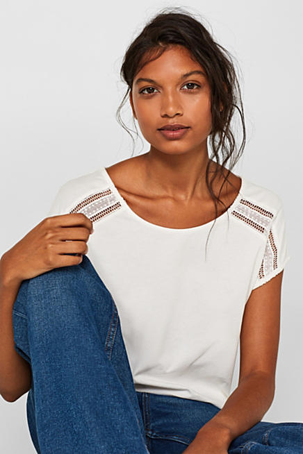 b4a5ec689cbe Shirt met kant en versiering op de achterkant, 100% katoen