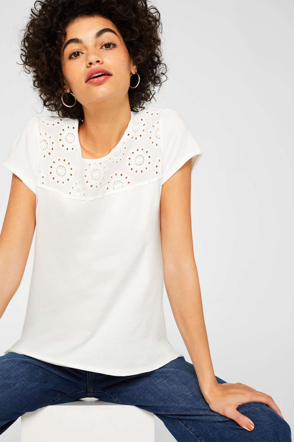 edc - Top with broderie anglaise, 100% cotton