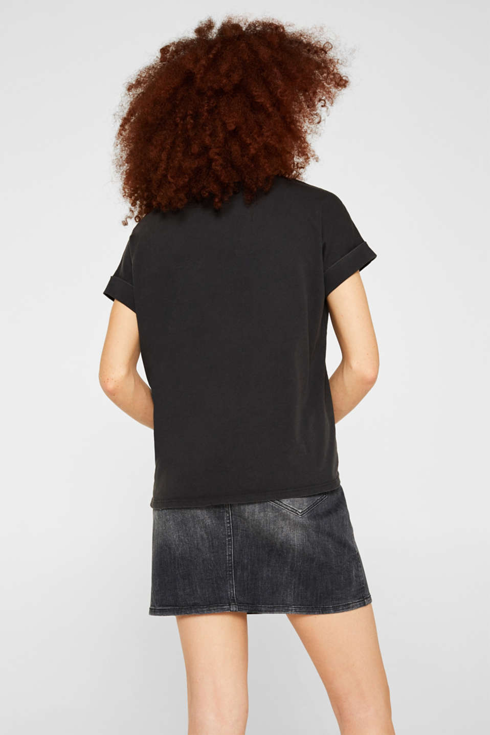 T-shirt with a casual cut, 100% cotton, BLACK, detail image number 3