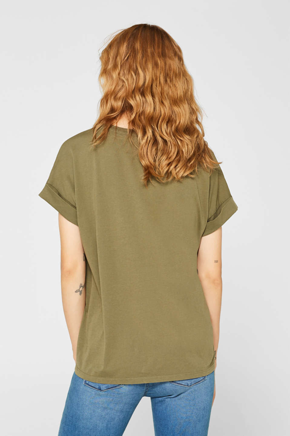 T-shirt with a casual cut, 100% cotton, KHAKI GREEN, detail image number 3