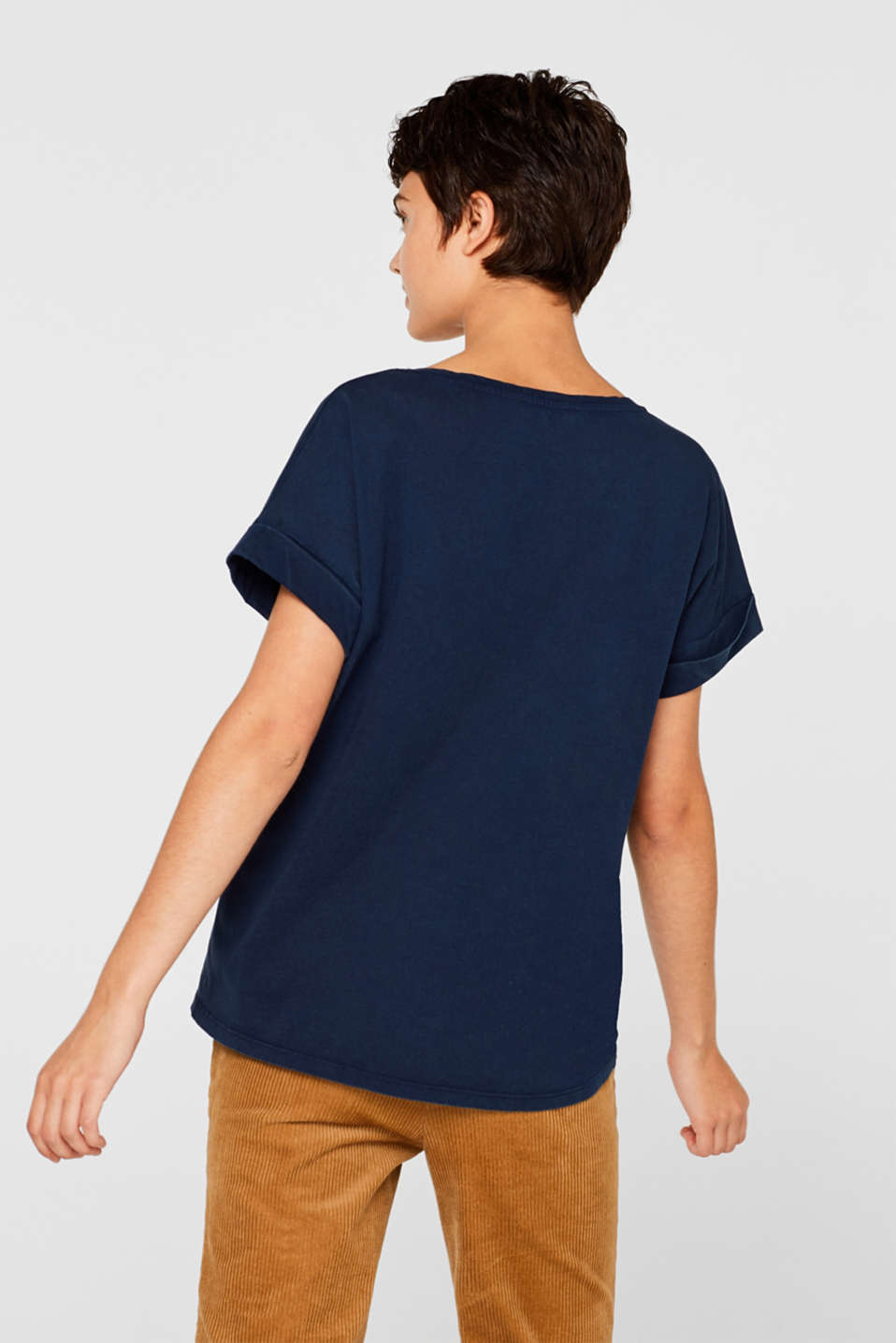 T-shirt with a casual cut, 100% cotton, NAVY, detail image number 3