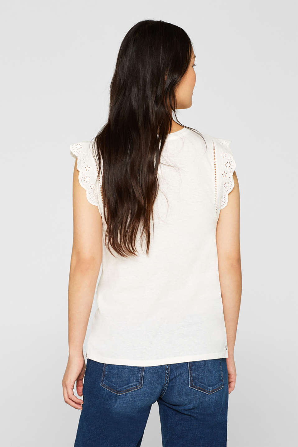 Linen blend: jersey top with broderie anglaise, OFF WHITE, detail image number 3