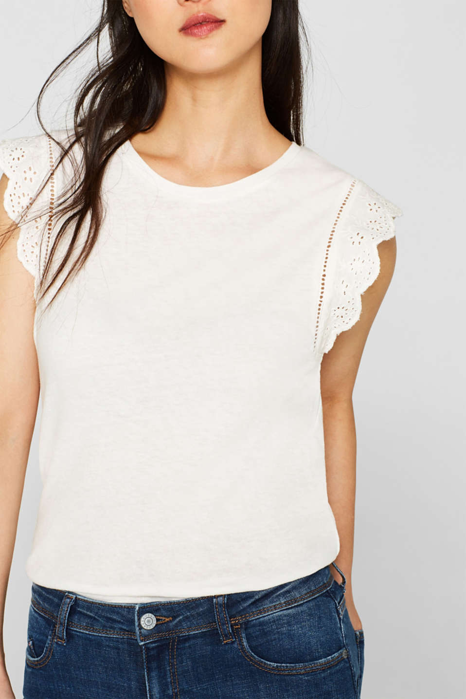 Linen blend: jersey top with broderie anglaise, OFF WHITE, detail image number 2
