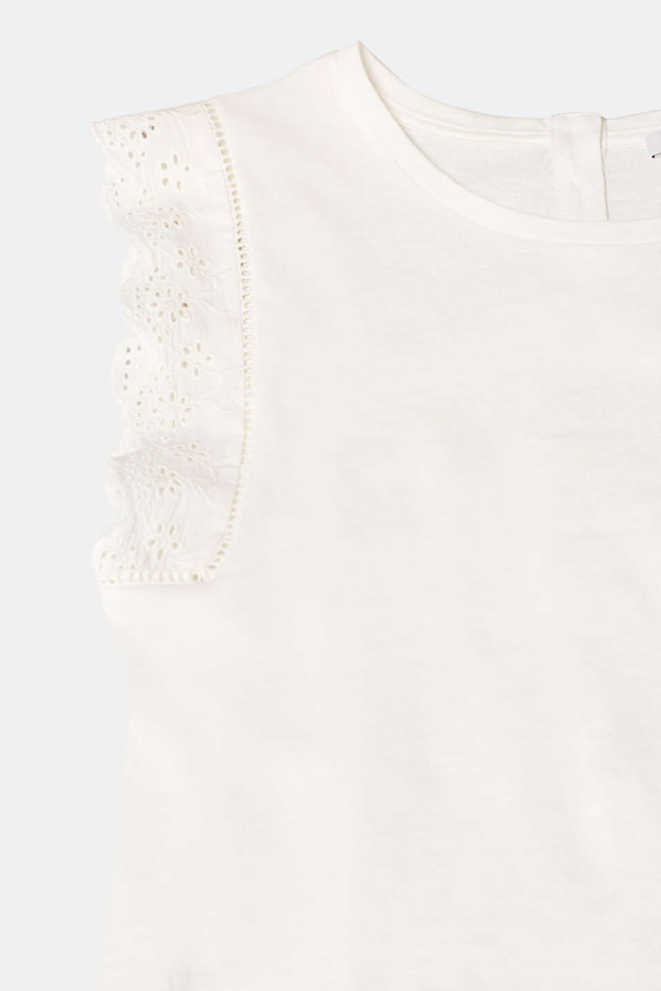 Linen blend: jersey top with broderie anglaise, OFF WHITE, detail image number 4
