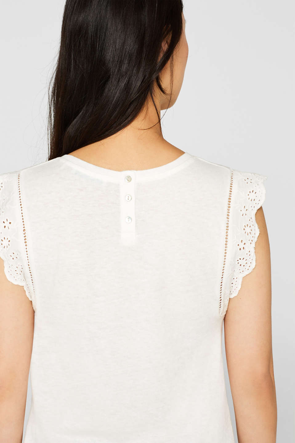 Linen blend: jersey top with broderie anglaise, OFF WHITE, detail image number 5