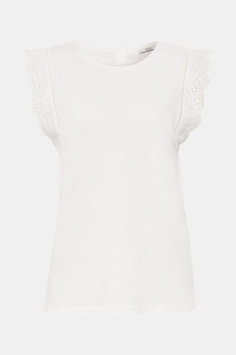 Linen blend: jersey top with broderie anglaise