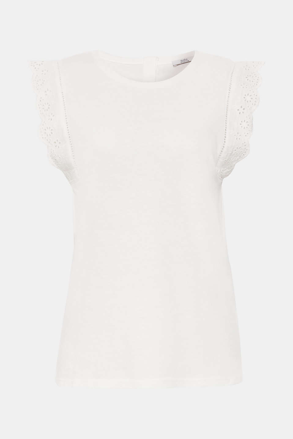 Linen blend: jersey top with broderie anglaise, OFF WHITE, detail image number 7