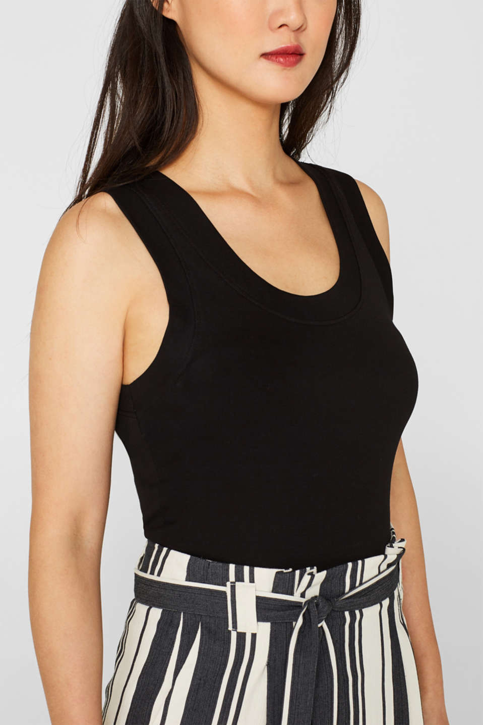 Stretch vest with organic cotton, BLACK, detail image number 2