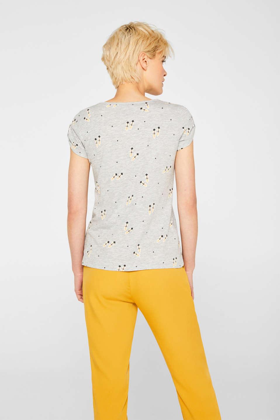 Melange T-shirt with a shoe print, LIGHT GREY 5, detail image number 3