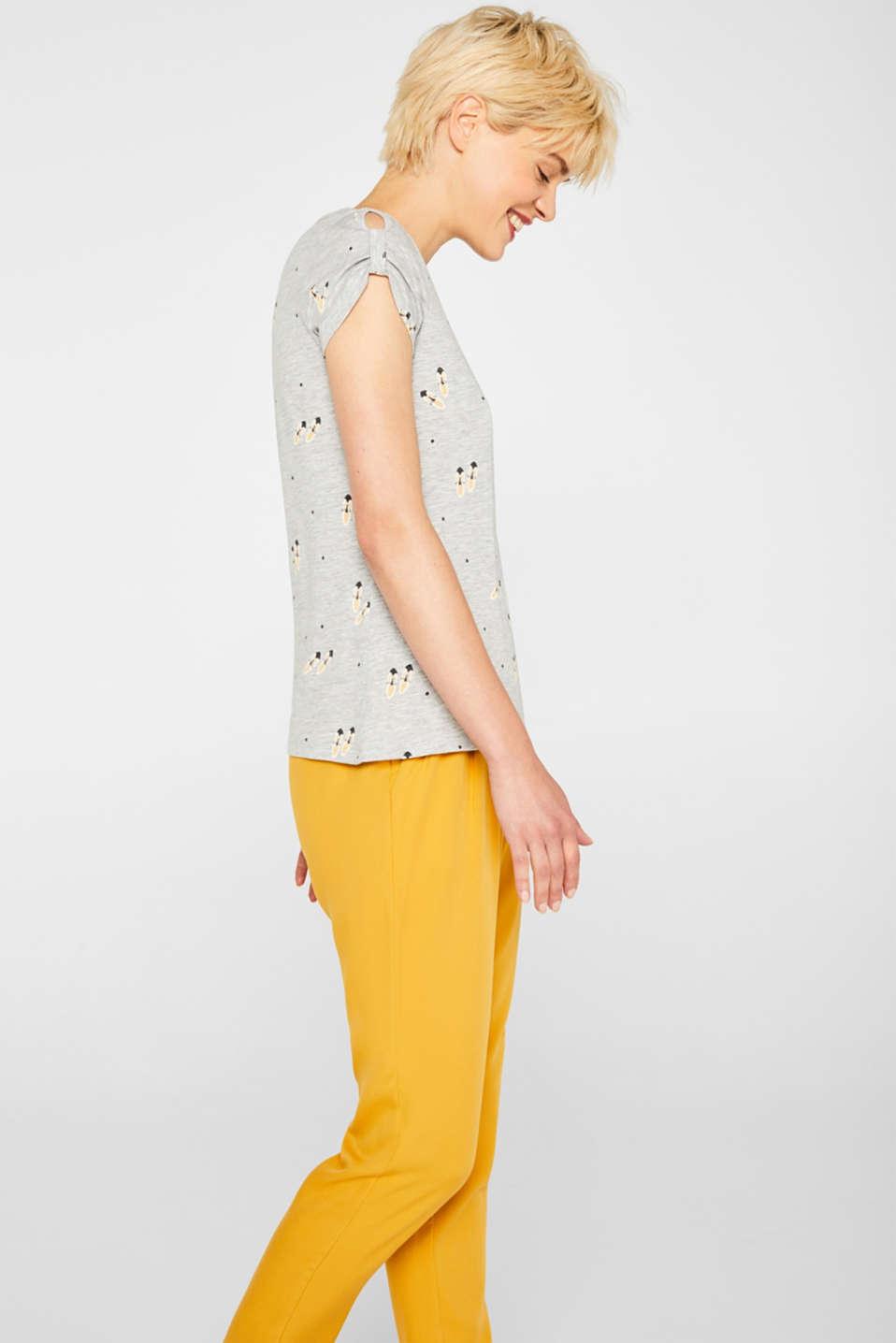 Melange T-shirt with a shoe print, LIGHT GREY 5, detail image number 5