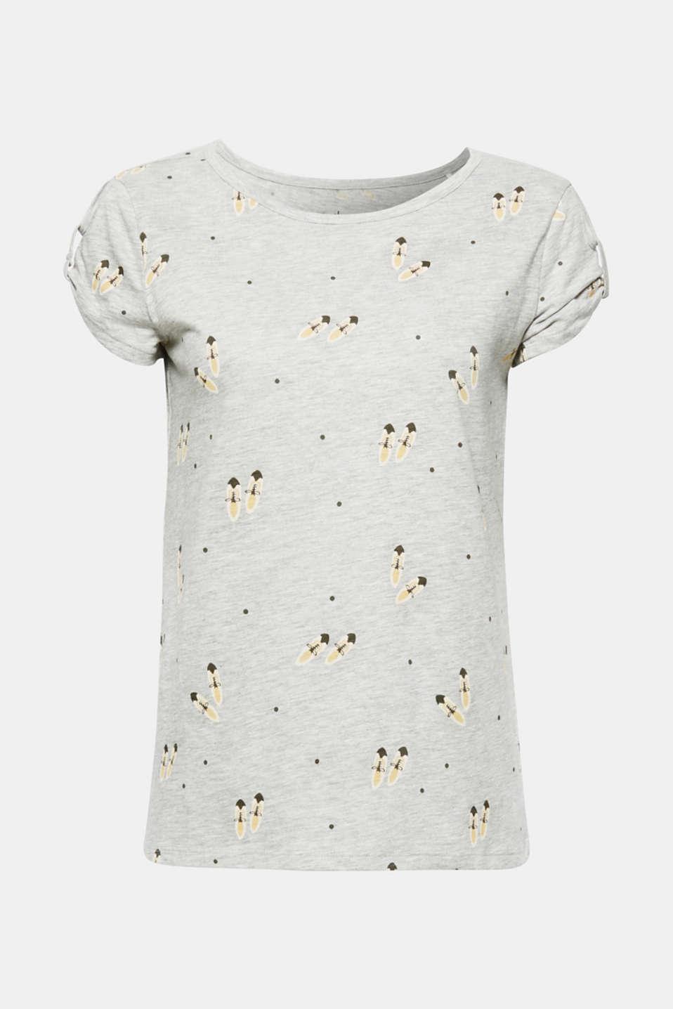Melange T-shirt with a shoe print, LIGHT GREY 5, detail image number 7