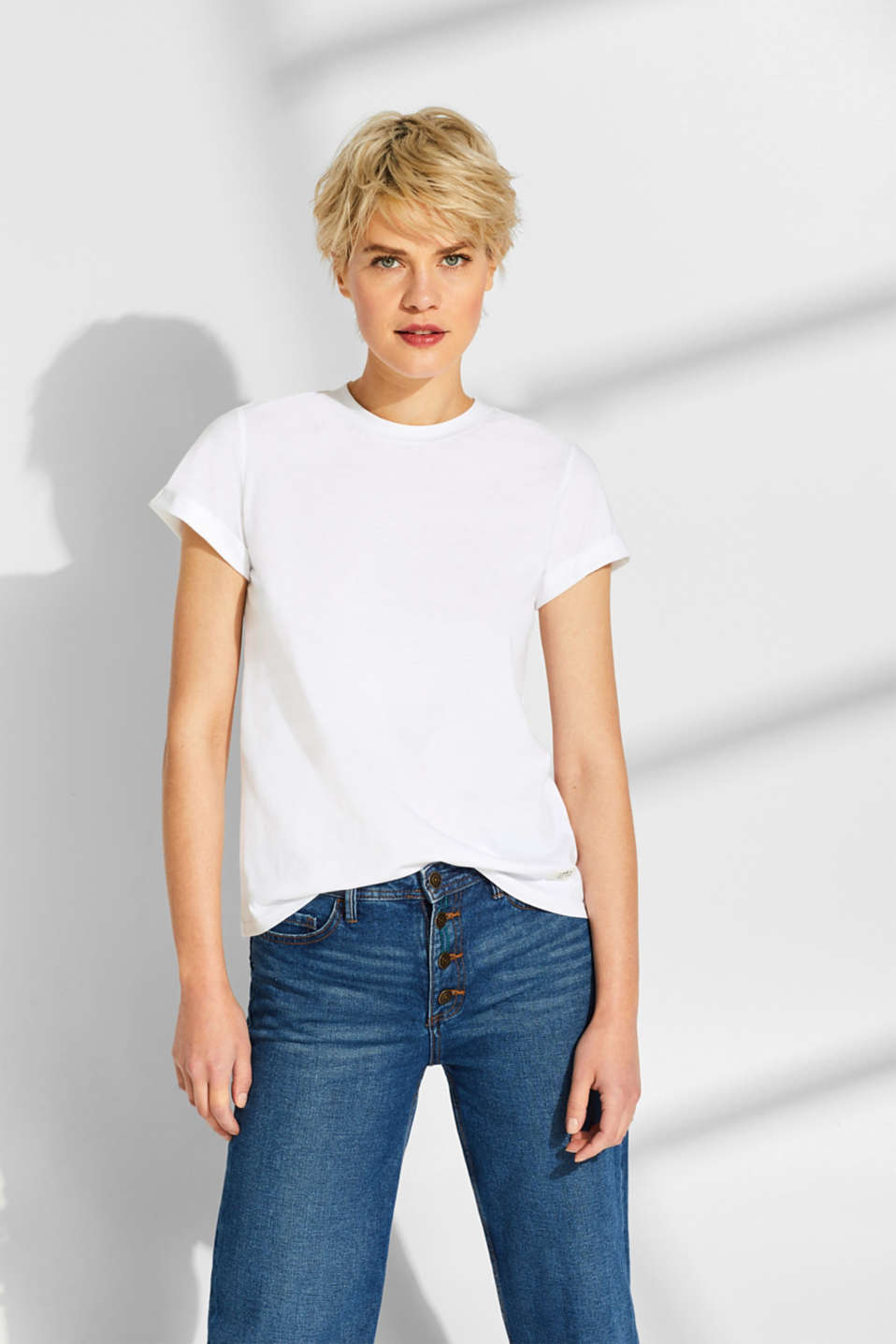 edc - T-shirt i basic-look, 100% bomuld
