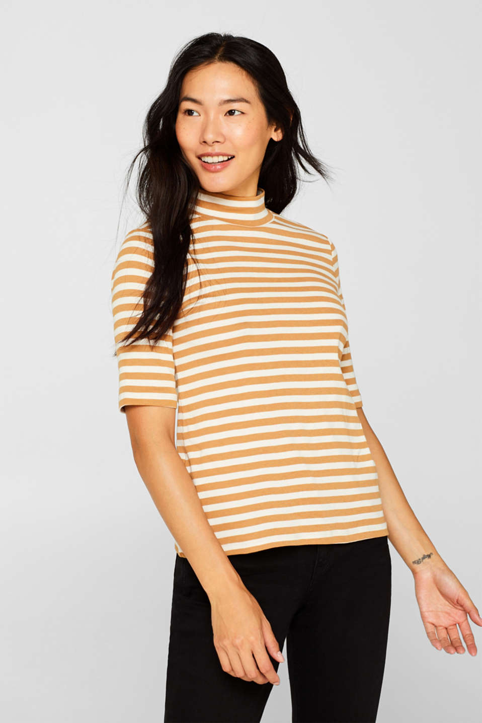 edc - Striped top with a stand-up collar, made of 100% cotton