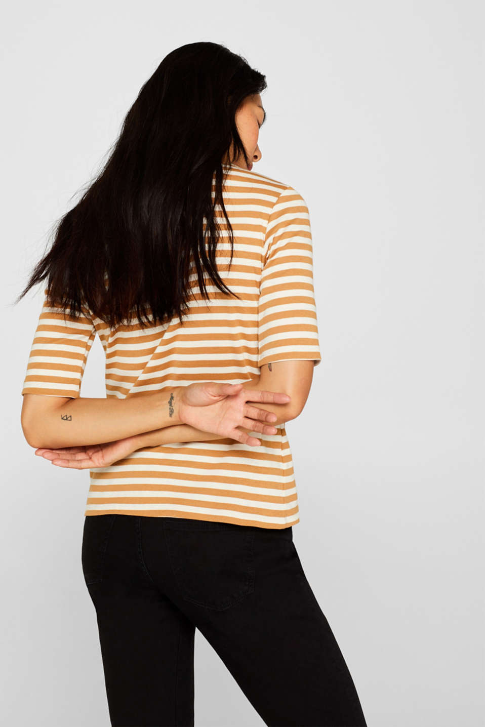Striped top with a stand-up collar, made of 100% cotton, CAMEL, detail image number 3