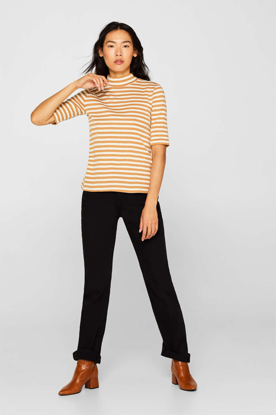 Striped top with a stand-up collar, made of 100% cotton, CAMEL, detail image number 1