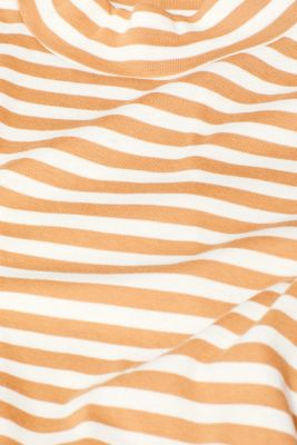 Striped top with a stand-up collar, made of 100% cotton