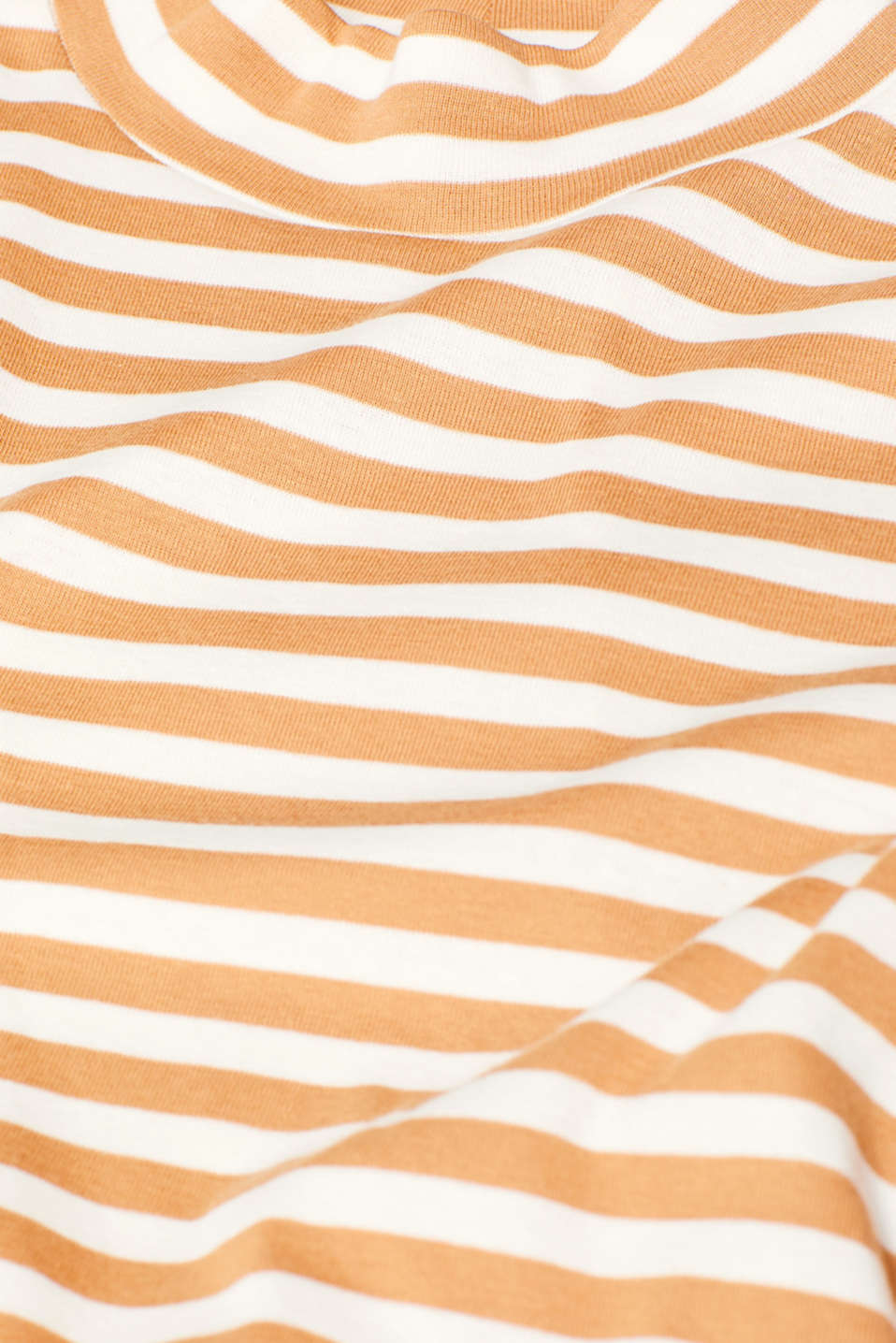 Striped top with a stand-up collar, made of 100% cotton, CAMEL, detail image number 4