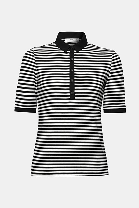 Stretch polo with a ribbed texture and fabric details