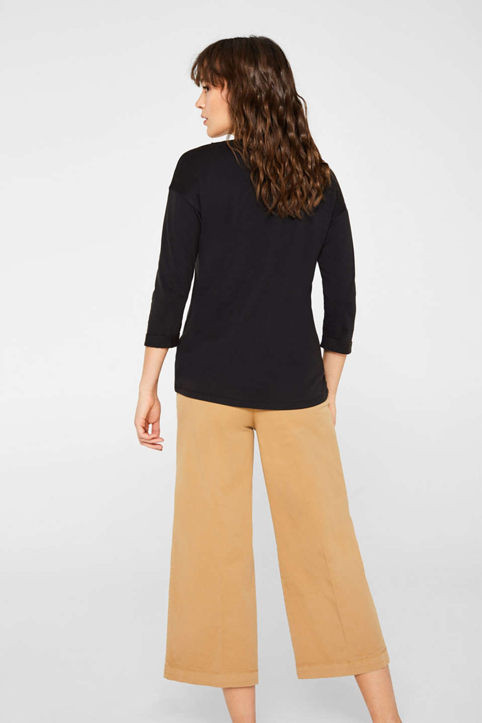 Top in a garment-washed look, 100% cotton, BLACK, detail image number 3