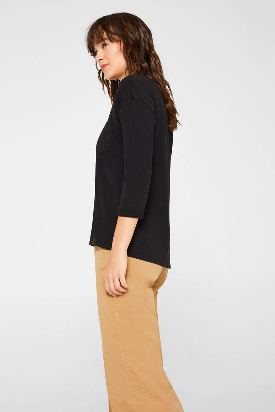 Top in a garment-washed look, 100% cotton, BLACK, detail image number 5