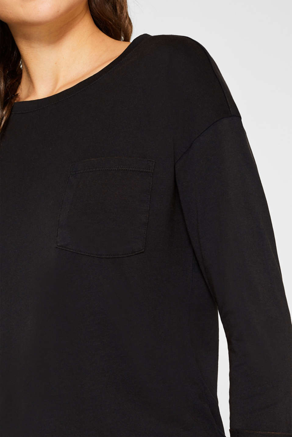 Top in a garment-washed look, 100% cotton, BLACK, detail image number 2